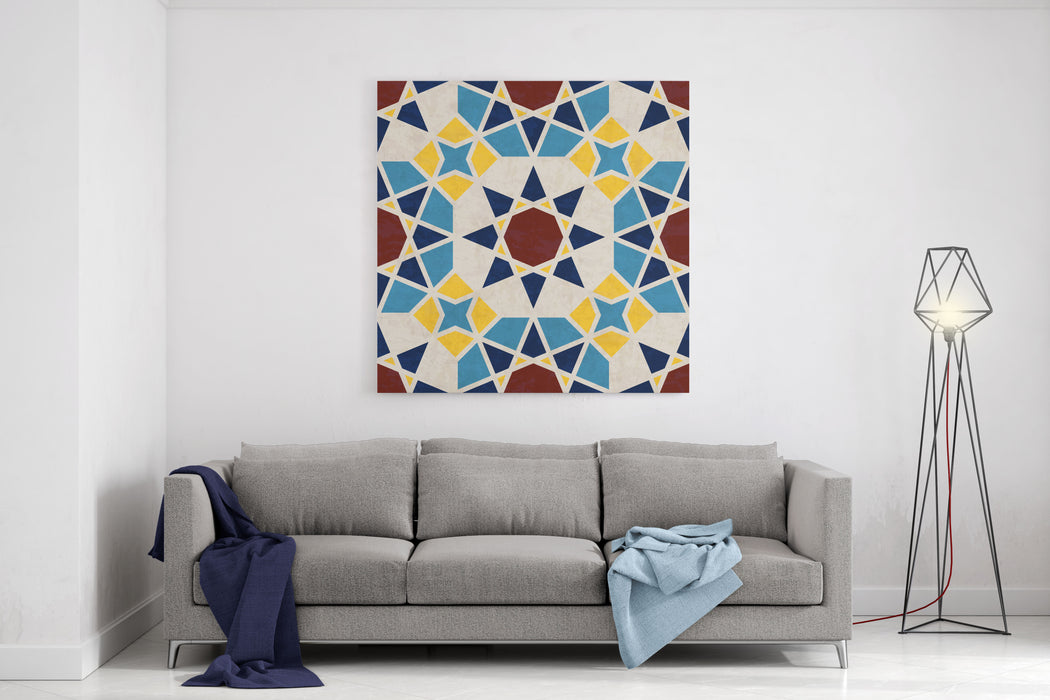 Abstract Geometric Mosaic Pattern With Polygons And Stars, Marbled Tiles In Moroccan Style, Textured Seamless Illustration Canvas Wall Art Print