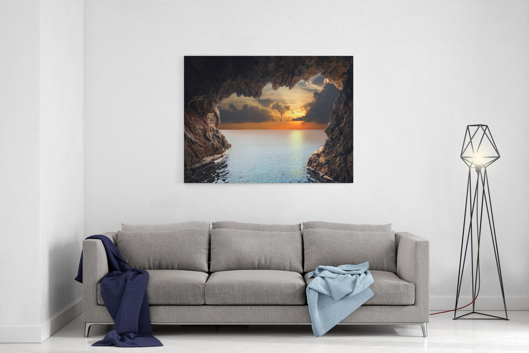 Inside View Of Grotto In Coast Nature Composition Canvas Wall Art Print