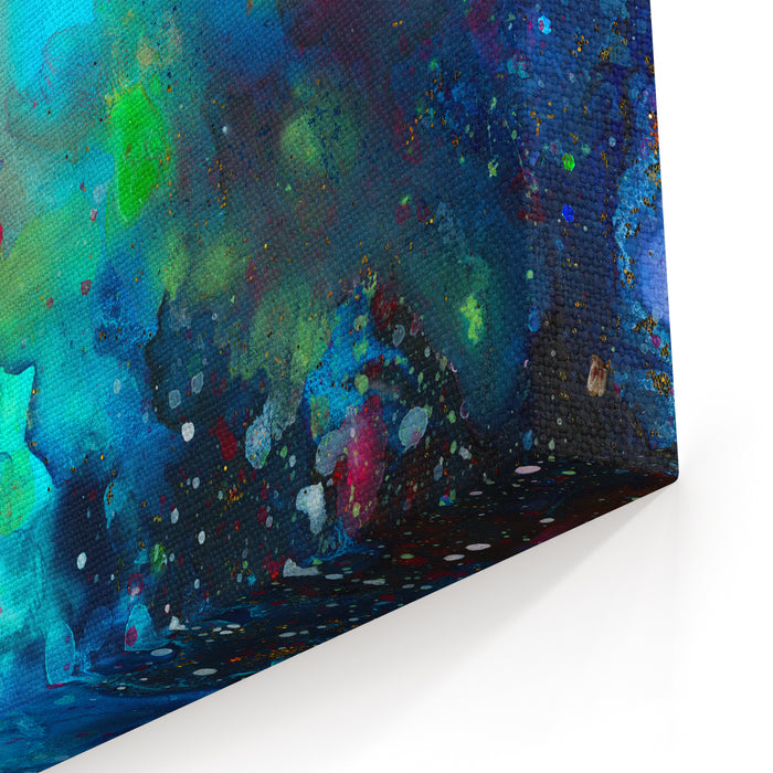 Rainbow Abstract Painting Galactic Background With Colorful Cosmic Light, Stars And Text Placeholder Canvas Wall Art Print