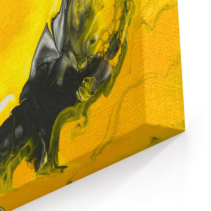 Black And Yellow Marble Abstract Hand Painted Background, Closeup Of Acrylic Painting On Canvas Contemporary Art Canvas Wall Art Print