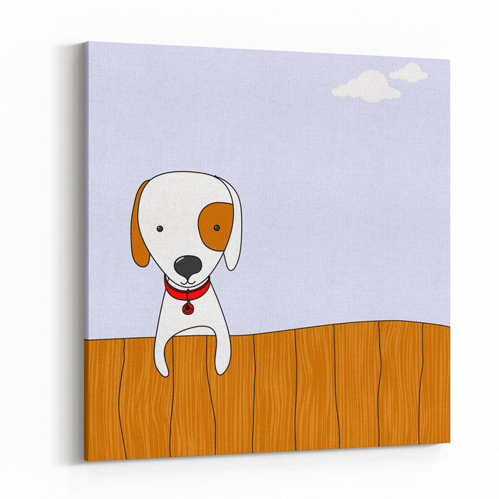 Cute Cartoon Dog On A Wooden Fence, For Vector Version See My Portfolio Canvas Wall Art Print