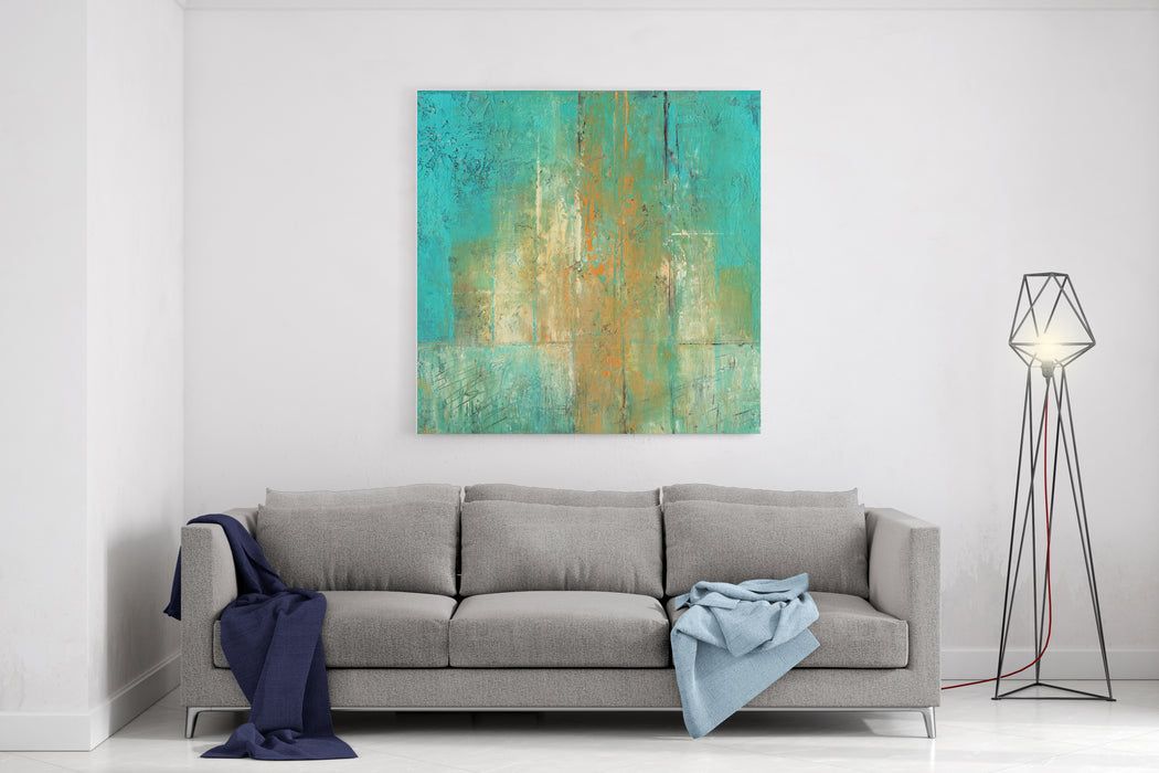 Abstract Acrylic Painting In Turquoise And Ocher Colors Canvas Wall Art Print