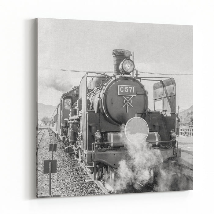 A Black And White Photo Of A Steam Locomotive Pouring Out Clouds Of Smoke And Steam In The Country In Yamaguchi, Japan Canvas Wall Art Print