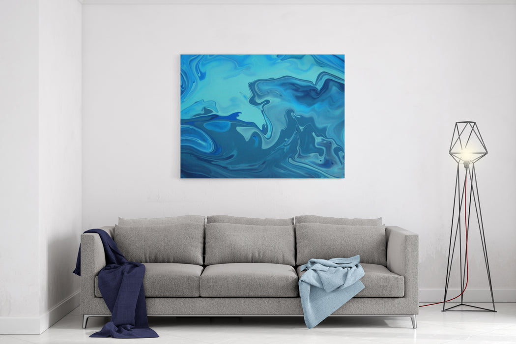 Blue Mmarble Art Painting Canvas Wall Art Print
