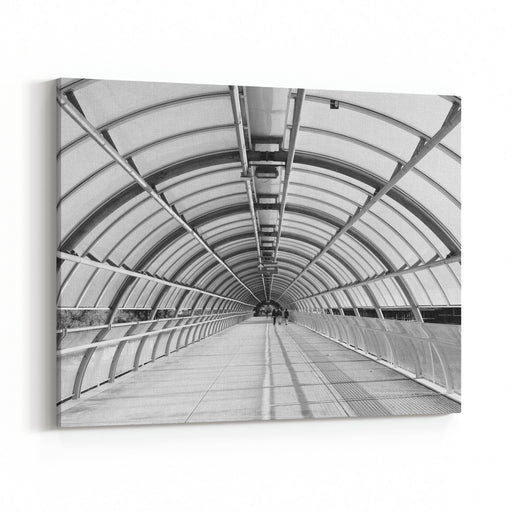 Modern Flyover In Glass And Metal, Architecture Photography In Black And White Canvas Wall Art Print