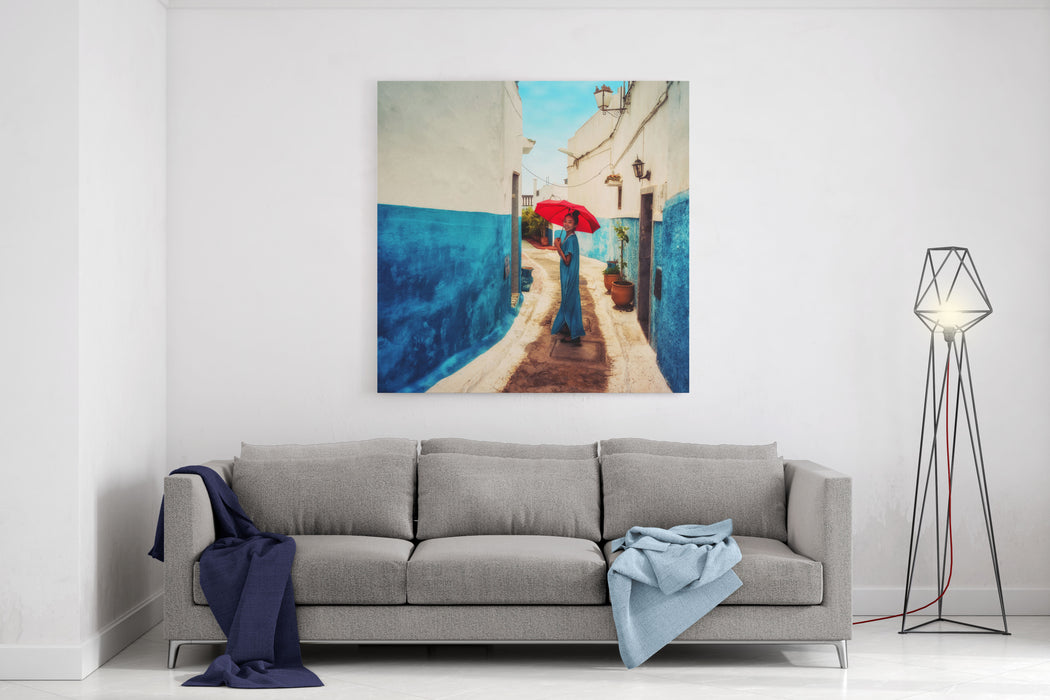 Asian Girl In Traditional Moroccan Dress With A Red Umbrella In The Blue Kasbah Of Tangiers, Morocco Canvas Wall Art Print