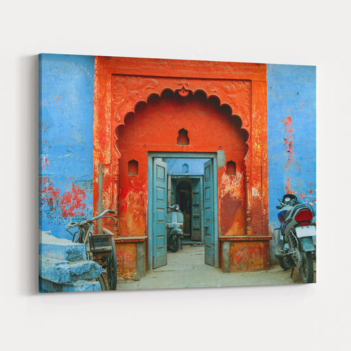 Agra, Uttar Pradesh, India, January ,   Details Of A Mughal Style Design Of An Entrance With Wooden Door Of A Residential House In Agra Canvas Wall Art Print