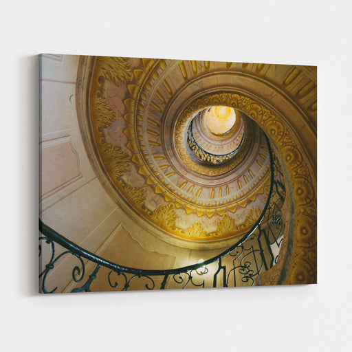 Spiral Staircase In Melk Abbey, Austria Canvas Wall Art Print