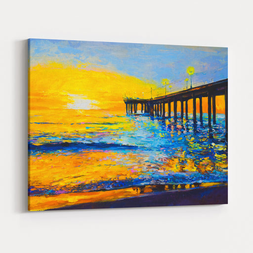 Original Oil Painting On Canvas Sunset Painting Modern Art Canvas Wall Art Print