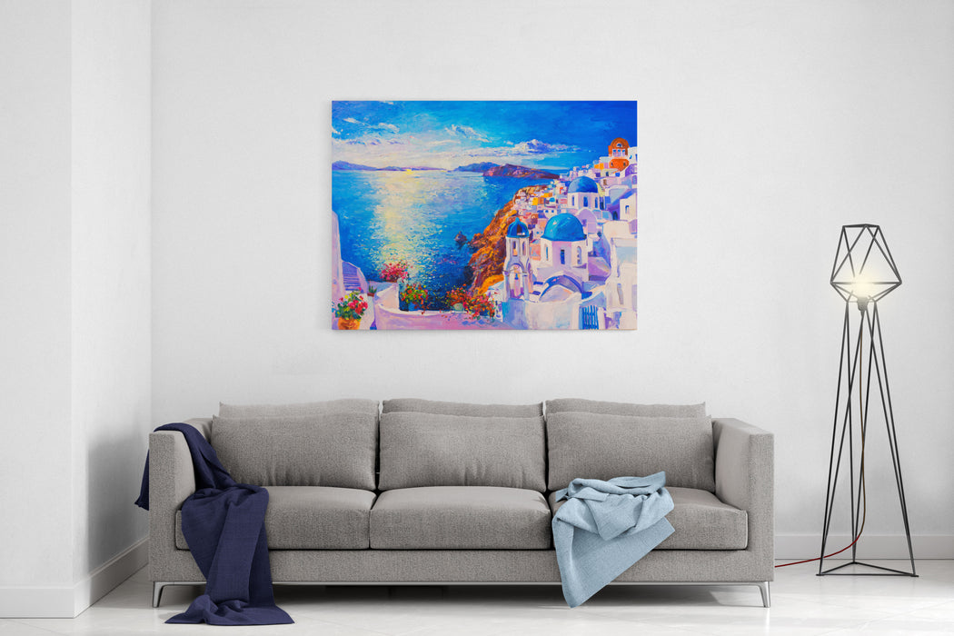 Original Oil Painting On Canvas Blue Sea And White Houses Modern Art Canvas Wall Art Print
