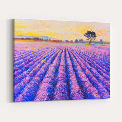 Original Oil Painting On Canvas Lavender Field Modern Art Canvas Wall Art Print