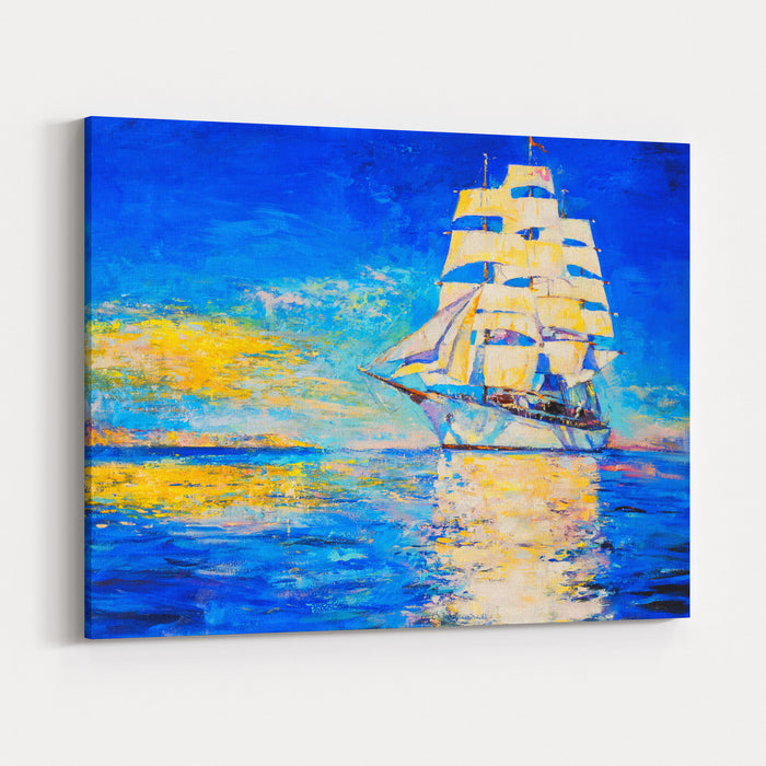 Original Oil Painting On Canvas White Ship Modern Art Canvas Wall Art Print