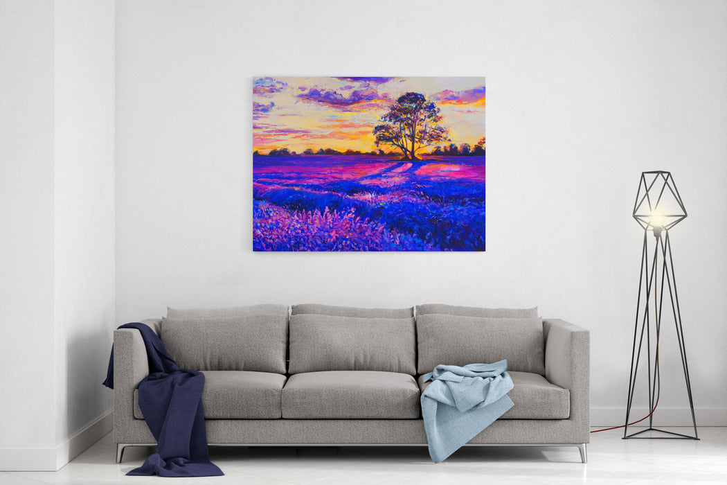Original Oil Painting On Canvas Lavender Landscape Modern Art Canvas Wall Art Print