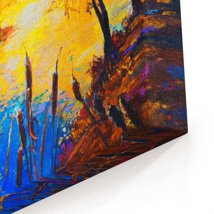 Original Oil Painting On Canvas Sunset Over The Lake Modern Art Canvas Wall Art Print