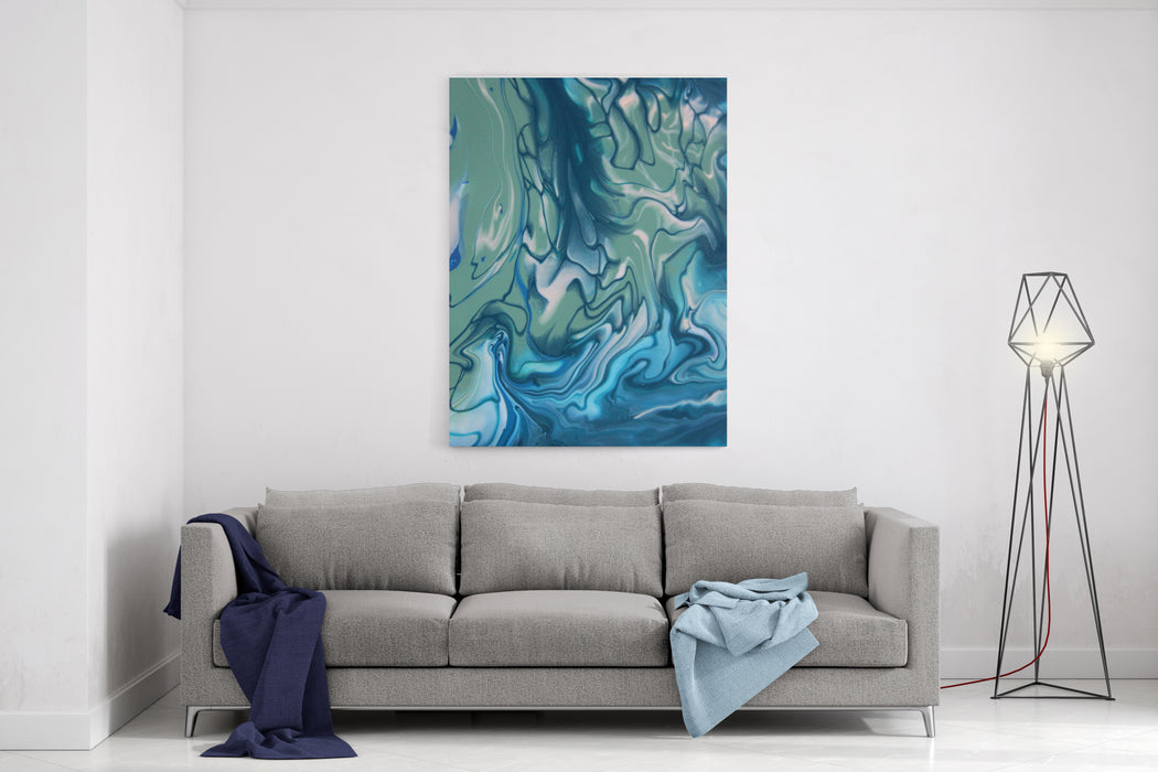 Blue And Green Marble Color Mix, Abstract Art Painting Canvas Wall Art Print