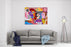 Group Of Five People With Dirty Dog Abstract Art Vector Illustration Canvas Wall Art Print