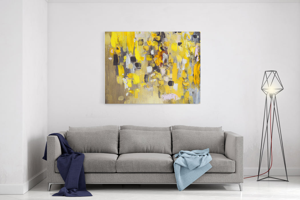Abstract Painting, Yellow Colors, Hand Painted, Details Canvas Wall Art Print