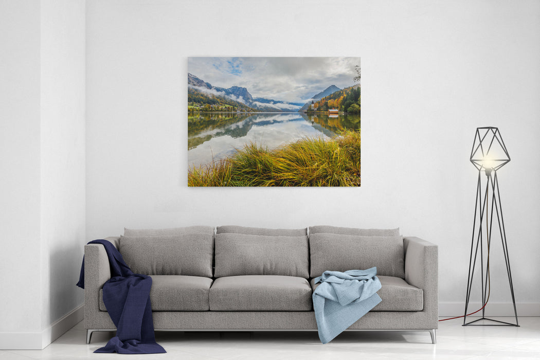 Amazing Scenery With Clouds Over Lake Grundlsee Scenic Image Of Fairytale Lake Wonderful Landscape In Autumn, Over The Splendid Alpine Lake Styria, Austria, Europe Popylar Touristic Location Canvas Wall Art Print