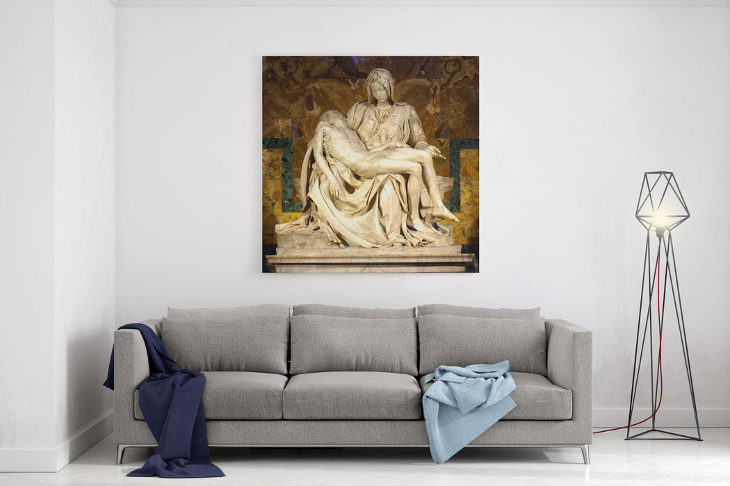 The Pieta By Michelangelo Renaissance Sculpture By Michelangelo Buonarroti, Housed In St Peters Basilica, Vatican City Canvas Wall Art Print