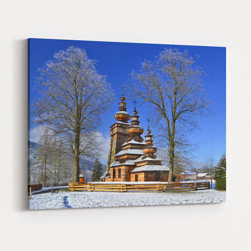 Ancient  Greek Catholic Wooden Church  In Kwiaton Village At Winter Time  A Classic Example Of Lemko Church Architecture,  UNESCO, Low Beskid Beskid Niski, Poland Canvas Wall Art Print