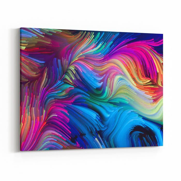 Color In Motion Series Artistic Abstraction Composed Of Liquid Paint Pattern On The Subject Design, Creativity And Imagination To Use As Wallpaper For Screens And Devices Canvas Wall Art Print