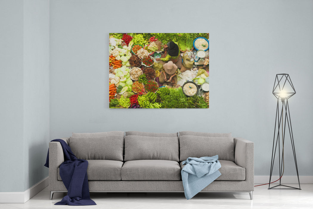 Asian Vegetable Market In Kota Bharu Malaysia Canvas Wall Art Print