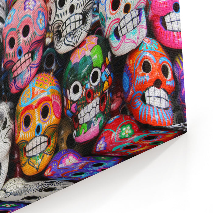 Colorful Skull From Mexican Tradition Dia De Los Muertos Canvas Wall Art Print
