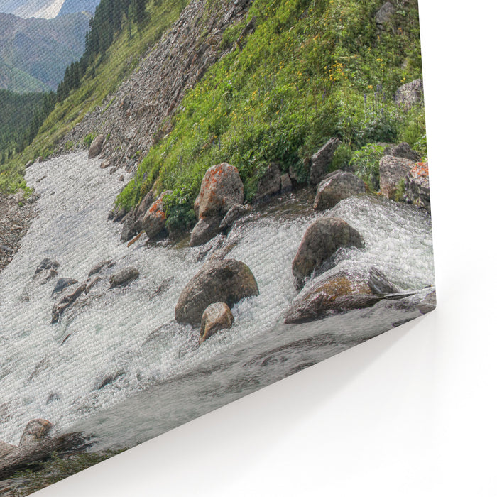 Mountain Landscape With Scenic Valley, Altai, Russia Canvas Wall Art Print