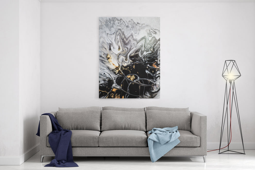 Abstract Texture Modern Artwork Marble Effect Painting Mixed Black And White Paints Golden Paint Unusual Trendy Background For Poster, Card, Invitation Contemporary Art Canvas Wall Art Print