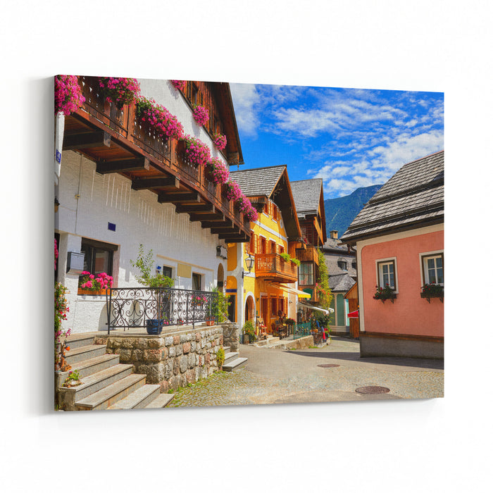 Hallstatt Ancient European Town Austria Picturesque Landscape Street With Beautiful House And Flower In Alps Canvas Wall Art Print