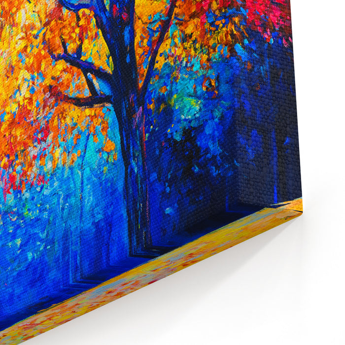 Original Oil Painting On Canvas Autumn Trees Modern Impressionism Canvas Wall Art Print