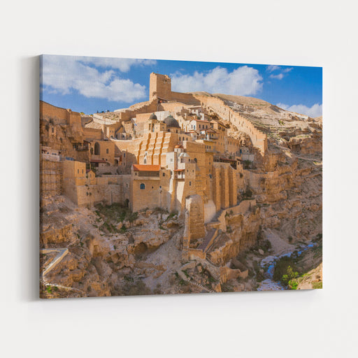 Israel  Palestine  West Bank  Bethlehem  Holy Lavra Of Saint Sabbas The Sanctified Mar Saba Monastery On The Wall Of Kidron Valley In Judean Desert Canvas Wall Art Print