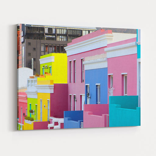 Colorful Bright Buildings In The Historical BoKaap Or Malay Quarter District Of Cape Town, South Africa Canvas Wall Art Print
