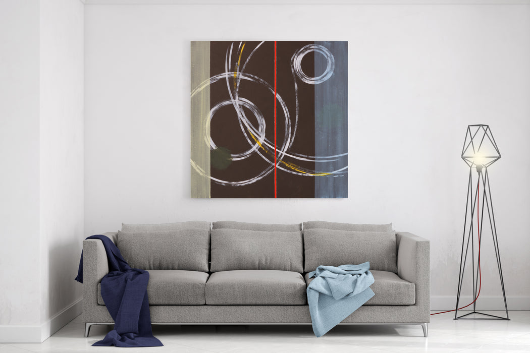 Abstract Painting By Clive Watts  Ringer Canvas Wall Art Print