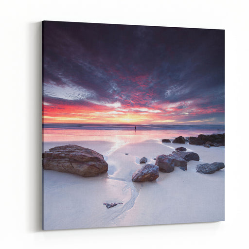 Australian Seascape At Dawn With Rocks In Foreground Miami Beach, Queensland, Australia Canvas Wall Art Print