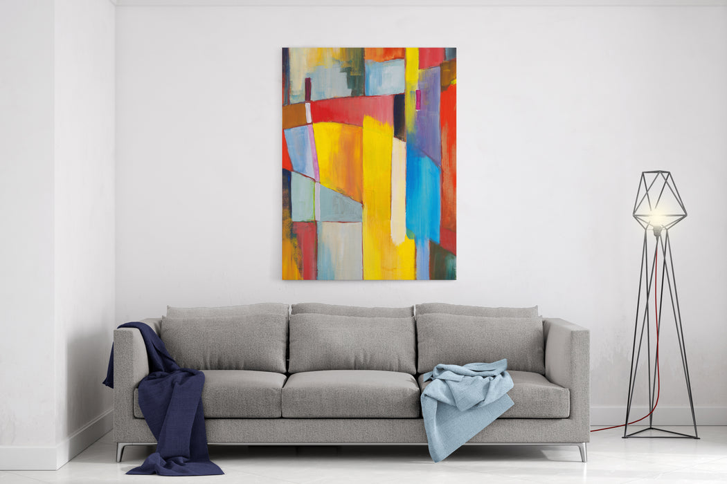 Abstract Painting By Clive Watts  Bridge Canvas Wall Art Print