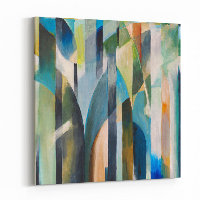 Abstract Painting By Clive Watts  Blue Curve Canvas Wall Art Print