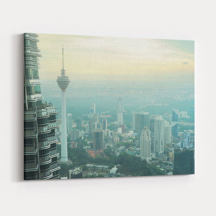 Aeial View Of Kuala Lumpur From Petronas Twin Tower At Sunset Canvas Wall Art Print