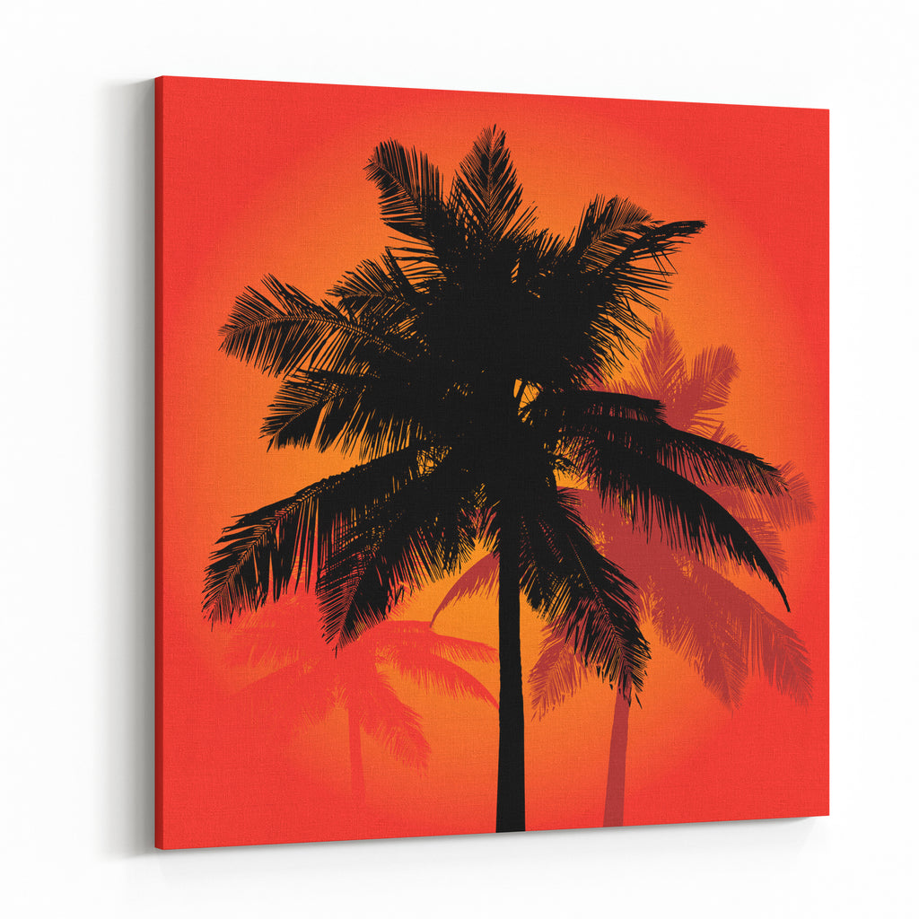 A trio of tropical coconut palm tree silhouettes illustration in vectorformat canvas wall art print