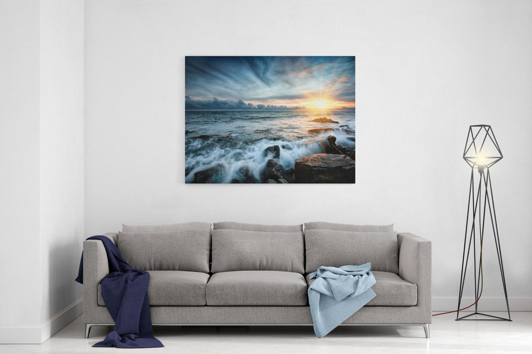 Sunset At Sea Storm Seascape Canvas Wall Art Print