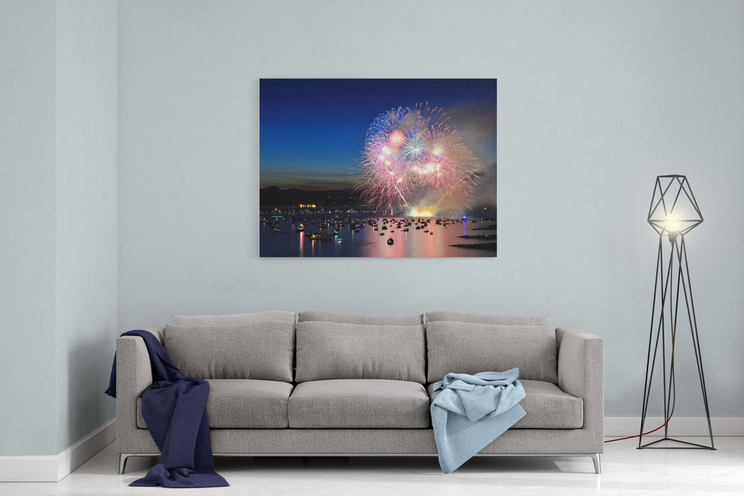 Celebration Of Lights, Fireworks Display At English Bay, Vancouver, BC Canvas Wall Art Print