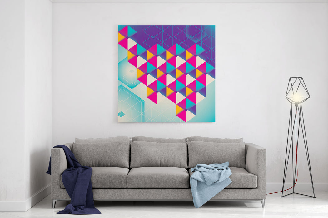 Colorful Geometric Abstraction Vector Illustration Canvas Wall Art Print
