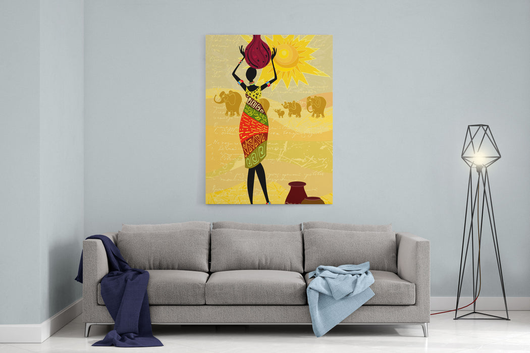 Landscape With An African Woman Decorative Canvas Wall Art Print