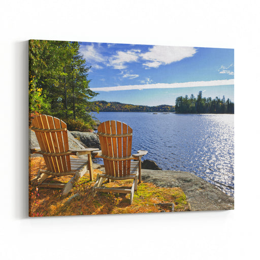 Adirondack Chairs At Shore Of  Lake Of Two Rivers, Ontario, Canada Canvas Wall Art Print