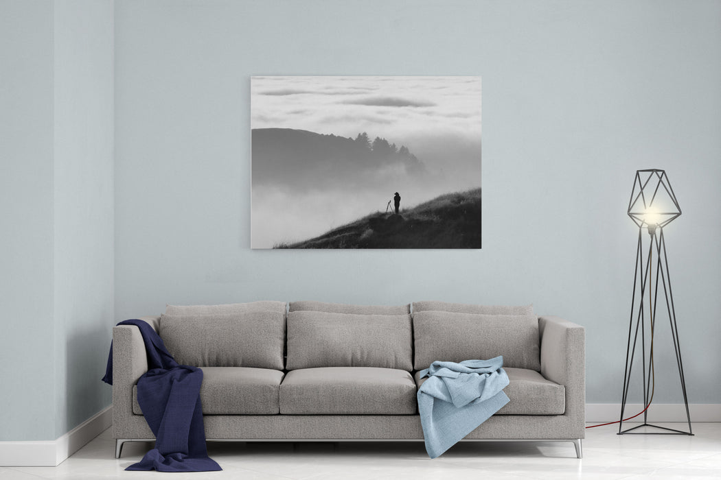 Anonymous Silhouette Of Photographer Overlooking A Blanket Of Fog Over Pacific Ocean And The Santa Cruz Mountains In California Canvas Wall Art Print