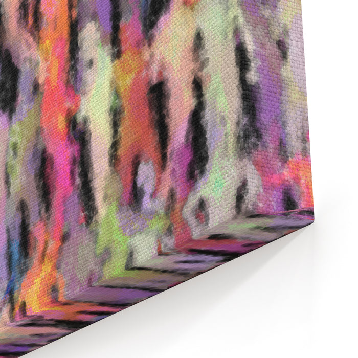 Abstract Painting Of A Crowd Of People Canvas Wall Art Print