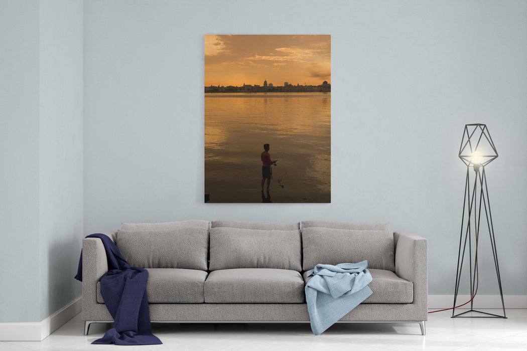 A Cuban Fishing Off The City Of Havana In Between The Capitol Building Cuba Canvas Wall Art Print