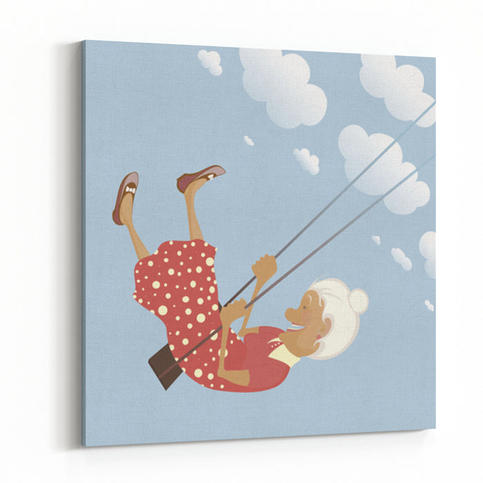 A Funny Granny On The Swing Is Happy Like A Child Canvas Wall Art Print