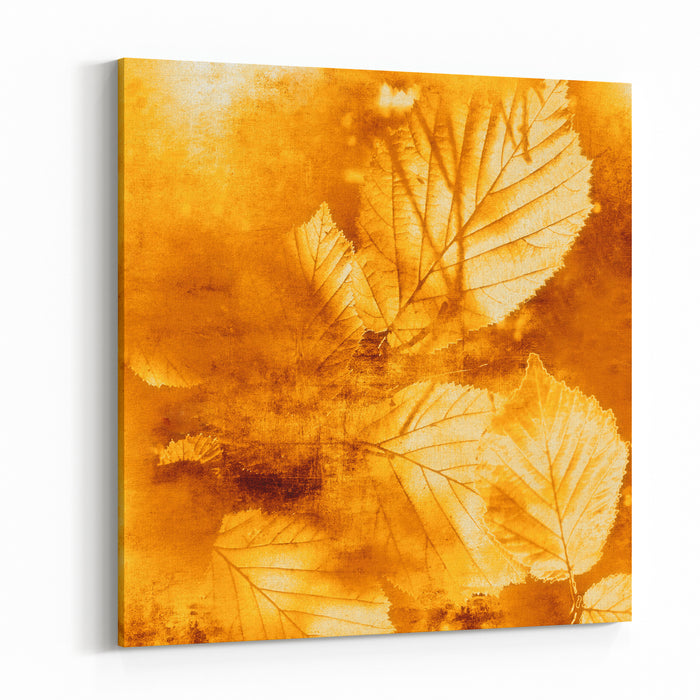 Autumn Background, Vintage Autumn Leaves Canvas Wall Art Print
