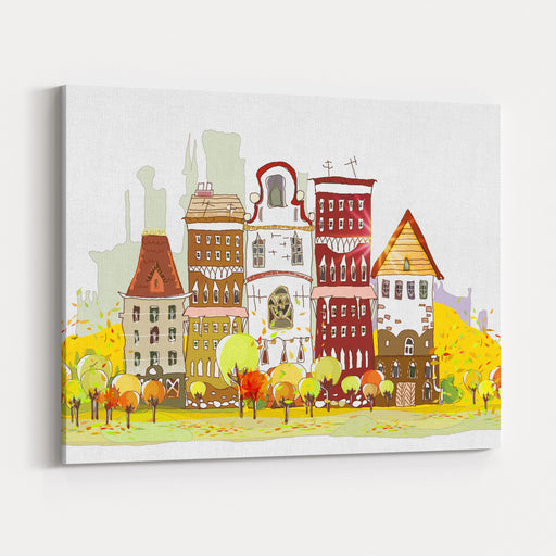 Autumn In The City Canvas Wall Art Print